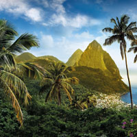 Pitons mountains in Saint Lucia island